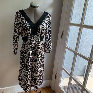 Harold's black/white polka dot satin-y dress, Sz 6